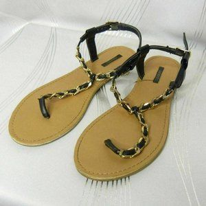 Forever 21 T-Strap Chain Flat Thong Sandals Sz 8